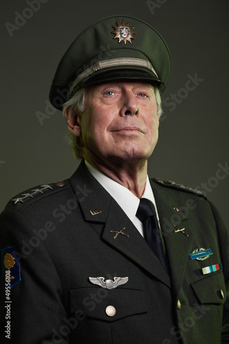 US military general in uniform. Studio portrait.
