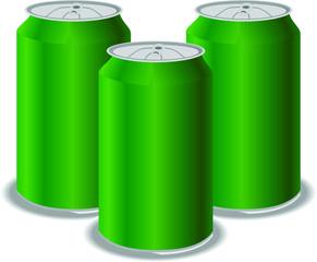 Green aluminum cans