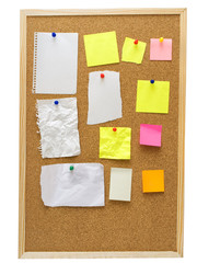 office cork board with blank notes