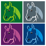 Horse Popart colored poster