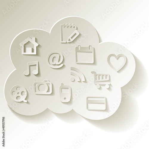 Cloud Computing Cloud-Computing Rechnen in der Wolke Icons Weiss