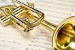 Goldene Trompete liegt auf Notenblatt - 49558184