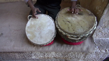 playing on indian tabla drums in Rajasthan, India