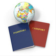 World travel. Earth and passport on white background