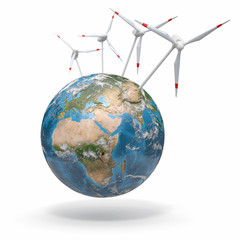 Wind turbine on Earth. 3d