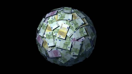 Spinning globe made of Euro notes. Looping CG Animation.