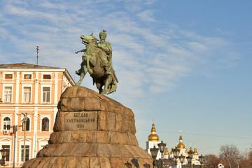 Bogdan Khmelnitsky monument in Kiev, Ukraine.