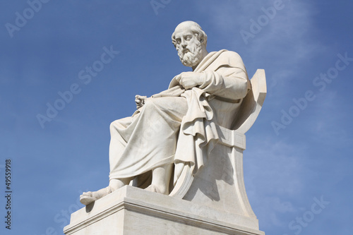 Statue of philosopher Plato in Athens, Greece