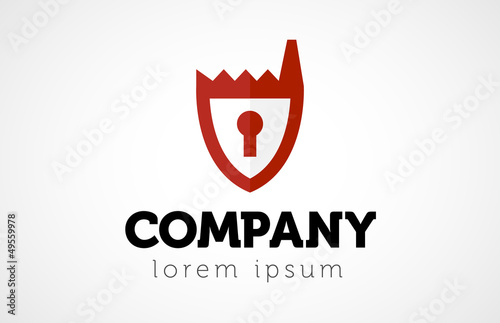 Company logo template,factory with lock