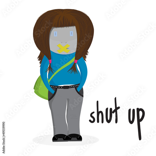 Shut up girl illustration