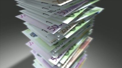 Huge stack of Euro bills.