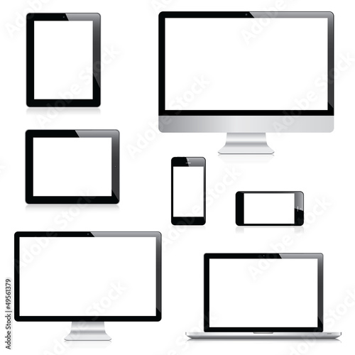 Electronic devices isolated on white background