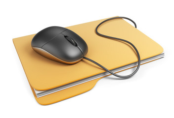 Computer mouse on folder. 3D Icon isolated on white background