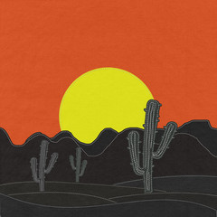 Cactus in the desert with stitch style on fabric background
