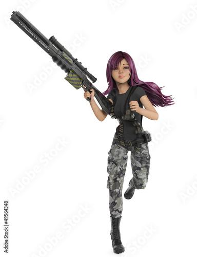 mercenary girl running