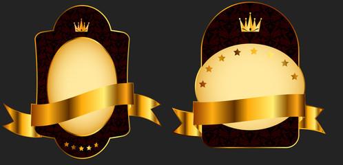Decorative ornate golden vector frames on dark background