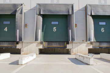 Loading bay for trucks with numbers