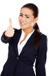 Business woman showing thumb up gesture