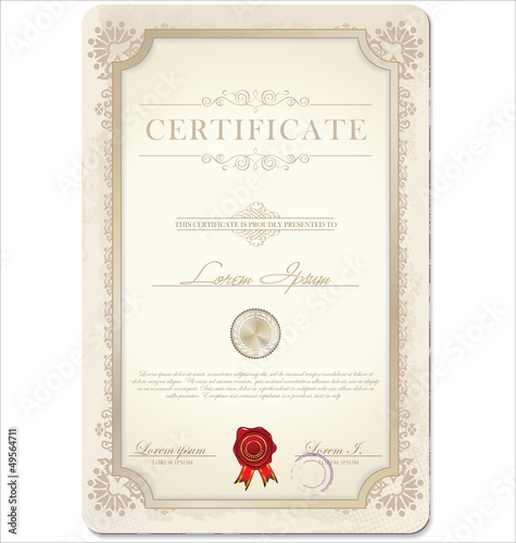 Certificate template. Vector illustration