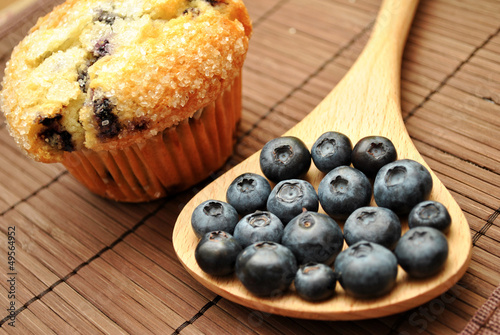 Blueberries Next to a Blueberry Muffin