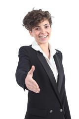 Beautiful businesswoman ready to handshake