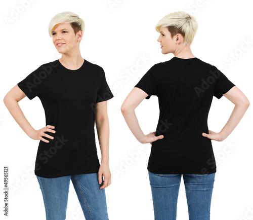 Cute female with blank black shirt