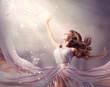 Beautiful Girl Wearing Long Chiffon Dress. Fantasy Scene