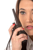 Business woman on the walkie-talkie poster