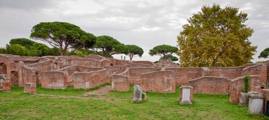 Ruins from caserma dei vigili del fuoco at Ostia Antica - Rome