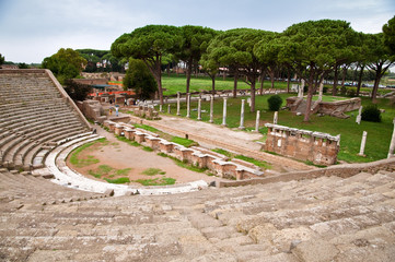 Amphitheatre steps and mausoleum in Ostia antica - Rome