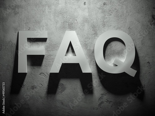 FAQ text with shadow, word