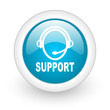 support blue circle glossy web icon on white background