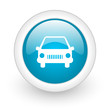 car blue circle glossy web icon on white background