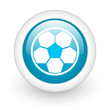 soccer blue circle glossy web icon on white background