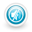mute blue circle glossy web icon on white background