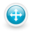 arrows blue circle glossy web icon on white background