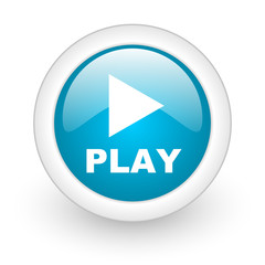 play blue circle glossy web icon on white background