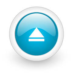 eject blue circle glossy web icon on white background