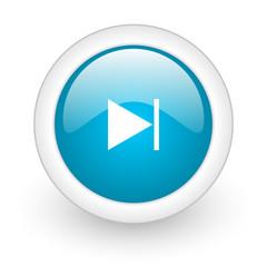 next blue circle glossy web icon on white background