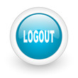 logout blue circle glossy web icon on white background