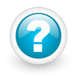question mark blue circle glossy web icon on white background