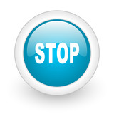stop blue circle glossy web icon on white background