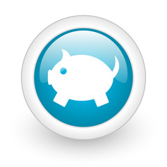 piggy bank blue circle glossy web icon on white background