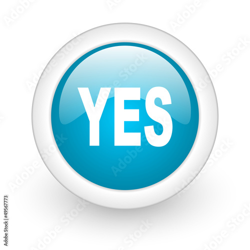 yes blue circle glossy web icon on white background