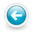 arrow left blue circle glossy web icon on white background
