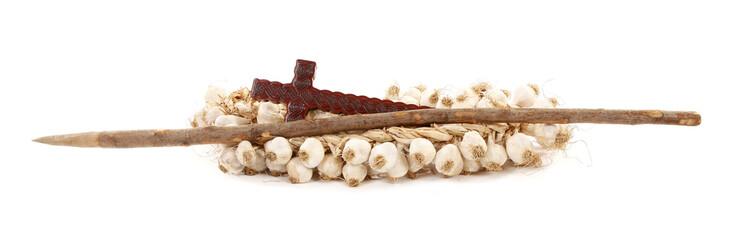 Set against vampires hawthorn stake, garlic and cross