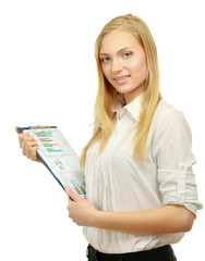 Portrait of the business woman with folder