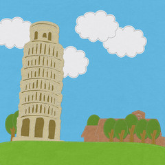 Pisa tower in stitch style on fabric background