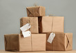 parcels boxes with kraft paper,