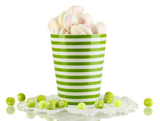 Gentle marshmallow in cup isolated on white